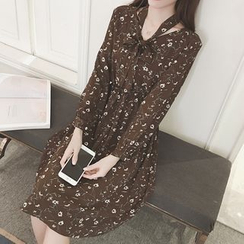Glen Glam - Fleece-lined Long-Sleeve Chiffon Dress