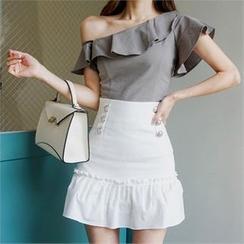 Babi n Pumkin - Off-Shoulder Ruffled Linen Blouse