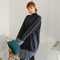 Styleberry - Stripe-Hem Brushed-Fleece Lined Pullover Dress