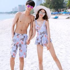 Sweet Splash - Couple Matching Floral Print Swimdress / Swim Shorts