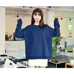 HOTPING - Round-Neck Cotton Pullover