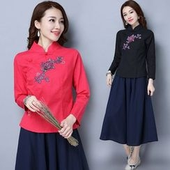 Diosa - Embroidered Stand-collar Long-Sleeve Dress