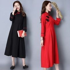 Diosa - Stand-collar Linen Cotton Long-Sleeve Dress
