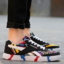 Preppy Boys - Paneled Printed Couple Sneakers