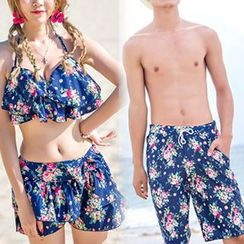 Roseate - Couple Matching Floral Print Frilled Bikini + Swim Shorts / Swim Trunks