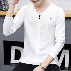 DTT - V-neck Long-Sleeve Top