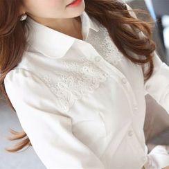 KOKA - Lace Panel Chiffon Shirt