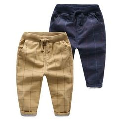 lalalove - Kids Check Fleece-lined Pants
