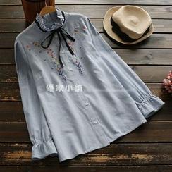 YOYO - 領結帶刺繡細直條紋襯衫