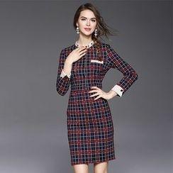 Ozipan - Long-Sleeve Paneled Plaid Dress