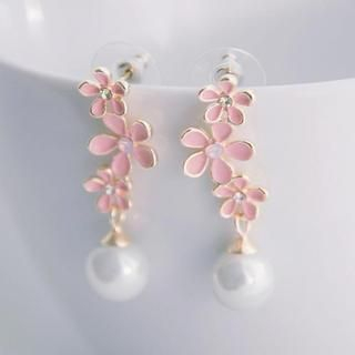Tokyo Fashion - Faux-Pearl Flower Drop Earrings