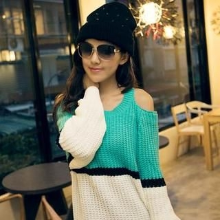Off-Shoulder Color-Block Knit Sweater