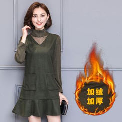 Her Story - Long-Sleeve Fleece-Lined Ruffle Dress