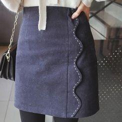 mimi&didi - Scallop-Trim Stitched Mini Skirt