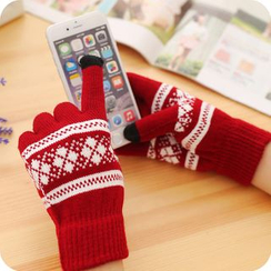 Fun House - Argyle Patterned Touchscreen Gloves
