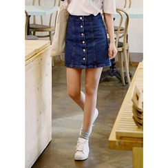 DEEPNY - Buttoned Denim Mini Skirt