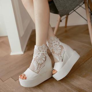 JY Shoes - Lace Panel Peep Toe Platform Short Boots