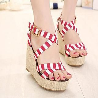 Mancienne - Striped Espadrille Wedge Sandals