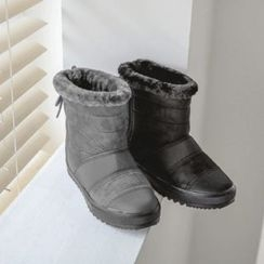 JUSTONE - Quilted Faux-Suede Short Snow Boots