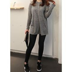 J-ANN - Long-Sleeve Loose-Fit Henley