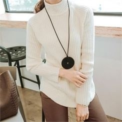 JOAMOM - Turtle-Neck Raglan-Sleeve Top