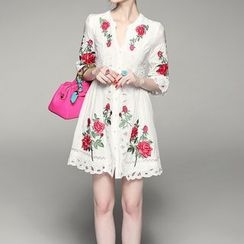 Alaroo - Embroidered 3/4-Sleeve Split-neck Dress