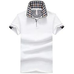 Bingham - Gingham Trim Short-Sleeve Polo Shirt