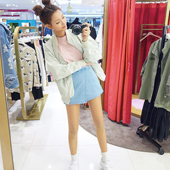 chuu - Flap-Front Denim Shorts