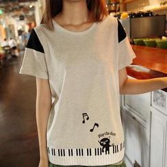 JVL - Short-Sleeved Keyboard Print T-Shirt
