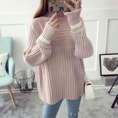 Qimi - Ribbed Panel Knit Top