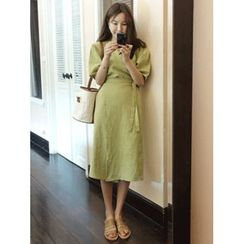 maybe-baby - Puff-Sleeve Wrap-Front Linen Dress