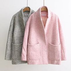 Mori Girls - Melange Open Front Jacket  Coat