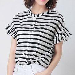 Nimill - Striped Collarless Frill Trim Short Sleeve Shirt