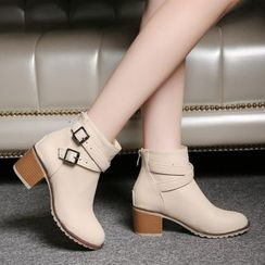 Pretty in Boots - Buckled Block Heel Ankle Boots