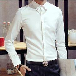 百高 - 領胸針細節修身襯衫