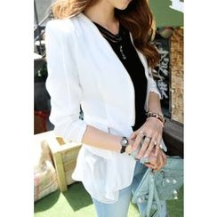 REDOPIN - Chiffon Trim Sharp-Shoulder Jacket