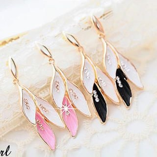 Miss Girl - Rhinestone Leaves Earrings