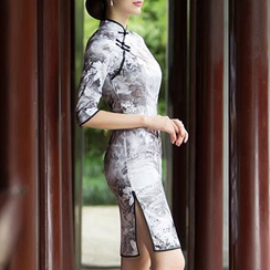 Miss Four Qipao - Elbow-Sleeve Cheongsam
