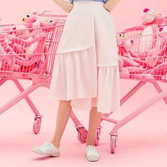 chuu - Ruffle-Hem Asymmetric Midi Skirt