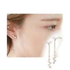 Miss21 Korea - Faux-Pearl Rhinestone Drop Earrings