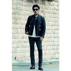 Ohkkage - Faux-Leather Biker Jacket