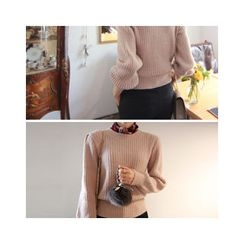 LEELIN - Puff-Sleeve Ribbed Sweater