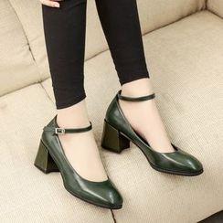Charming Kicks - Ankle Strap Block Heel Pumps