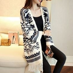Ageha - Patterned Fringed Long Cardigan