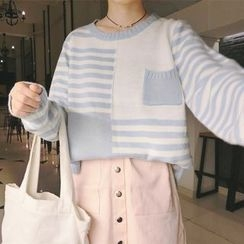 Bloombloom - Striped Panel Sweater