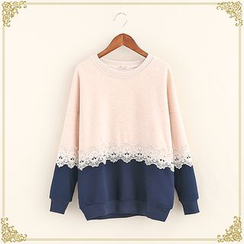 Fairyland - Lace Trim Two Tone Pullover