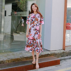 WITH IPUN - Print A-Line Dress