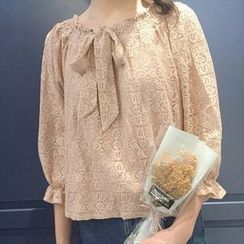 Moon City - Lace 3/4-Sleeve Top