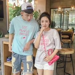 Evolu Fashion - Couple Matching Short-Sleeve Lettering T-Shirt