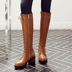 Sidewalk - Block Heel Lace-Up Tall Boots